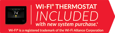 Wi-Fi thermostat is included with a new system purchase