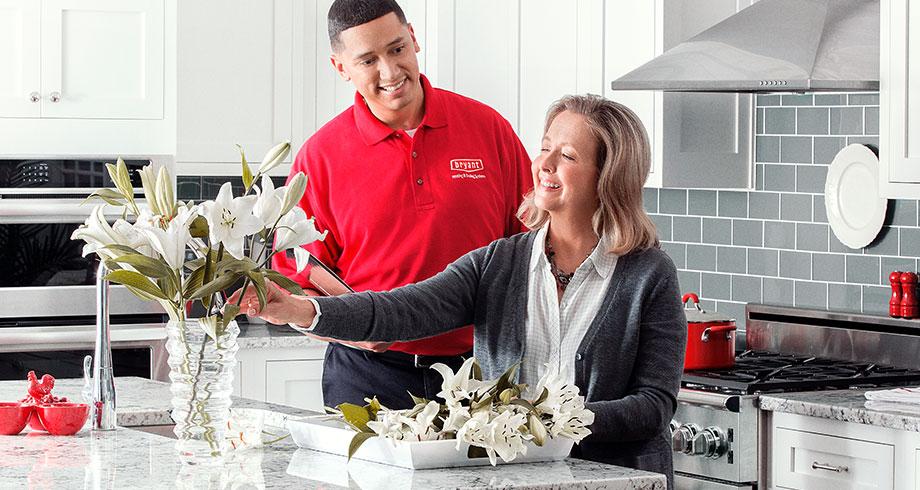 homeowner arranging fresh flowers