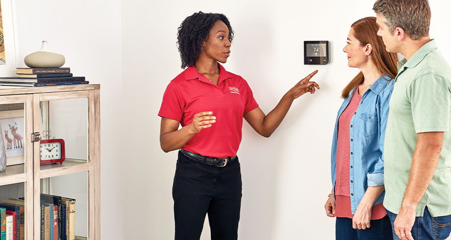 HVAC advisor shows homeowners thermostat settings for zoning